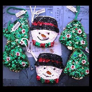 sequin paillette coin purses Christmas theme new